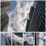Collage von hohen Gebäuden und von bewölktem Himmel stockbilder