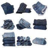 Collage von Jeans auf Weiß stockfotos
