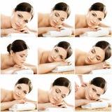 Collage von jungen Frauen auf Badekurortmassageverfahren Stockbilder