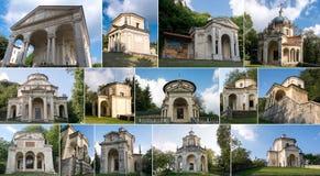 Collage von Kapellen bei Sacro Monte di Varese Italien Stockfoto