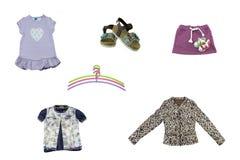 Collage von Kinderkleidung Konzeptfrühlings- und -sommerkleidung lizenzfreies stockfoto
