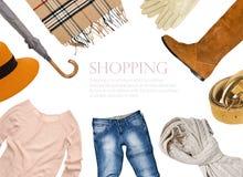 Collage von Kleidung in der warmen Farbe Stockfoto
