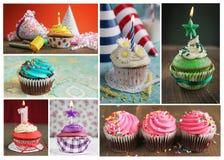 Collage von kleinen Kuchen Stockbild
