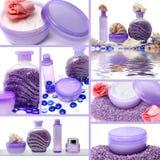 Collage von kosmetischen Produkten Lizenzfreies Stockfoto
