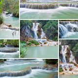 Collage von Kuang Si Waterfall Luang Prabang laos Stockbilder