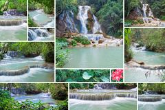 Collage von Kuang Si Waterfall Luang Prabang laos Stockfotos