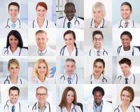Collage von lächelnden Doktoren lizenzfreie stockfotografie