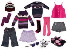 Collage von Mädchenkleidung. Stockfotografie