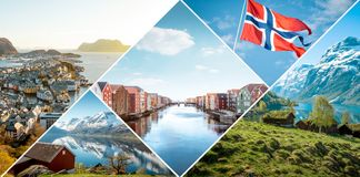 Collage von Norwegen lizenzfreies stockfoto
