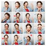 Collage von Porträts der glücklichen Frau Stockfotos
