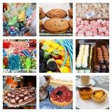Collage von süßen und köstlichen Festlichkeiten Stockfotos