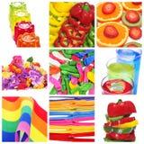 Collage von Sachen der verschiedenen Farben Stockbild