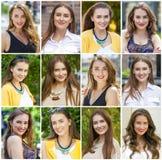 Collage von schönen jungen Frauen stockfotos