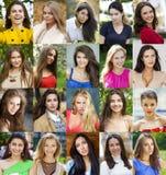 Collage von schönen jungen Frauen zwischen Jastimme achtzehn und dreißig Stockfoto