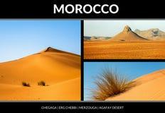 Collage von schönen Landschaften der marokkanischen Wüste stockfotografie