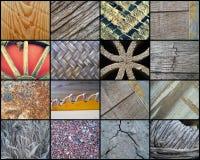 Collage von sechzehn rustikalen Beschaffenheiten Lizenzfreies Stockbild