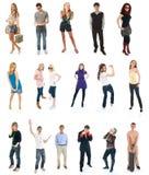 Collage von siebzehn Personen getrennt auf einem Weiß Lizenzfreies Stockbild