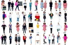 Collage von sorgfältigen Schulkindern stockbild