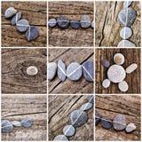 Collage von Steinen auf Holz Stockfotografie