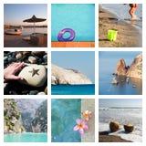 Collage von Strandurlaubmomenten Lizenzfreies Stockfoto