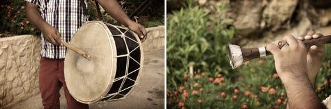 Collage von Tabl und von Mizmar, Musikinstrumente Stockfotos