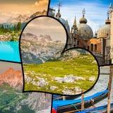 Collage von touristischen Fotos des Italiens lizenzfreie stockfotos