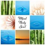 Collage von unterschiedlichen schönen Bildern und von Text Verstand, Körper, Seele stockfotografie