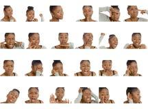 Collage von verschiedenen Gesichtsausdrücken Lizenzfreie Stockbilder