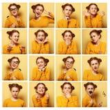 Collage von verschiedenen Gesichtsausdrücken der jungen Frau stockfotos