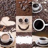 Collage von verschiedenen Kaffeedetails Stockfotografie