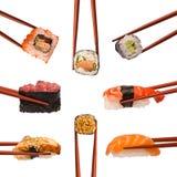 Collage von verschiedenen Sushi Stockfoto