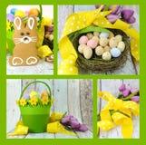 Collage von vier Bildern von fröhlichen Ostern gelb und von lindgrünen Themalebkuchenhäschenplätzchen Stockbild