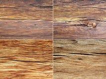 Collage von vier hölzernen Beschaffenheiten Stockbilder