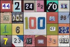 Collage von Zahlen mit Nr. hundert in der Mitte stockfotografie