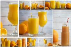 Collage von Zitrusfruchtgetränken Orangen-, Mandarinen- und Grapefruitsaftmischung stockfoto