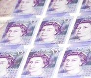 Collage von Zwanzig (20) Pfund Banknote- Lizenzfreie Stockfotos