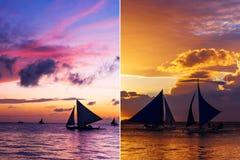 Collage von zwei vertikalen Bildern mit Segelbooten bei Sonnenuntergang Stockfoto