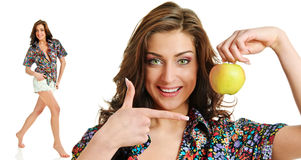 Apple and woman Royalty Free Stock Photos