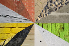 Collage wall and pavement background. Colorful different wall an Royalty Free Stock Photography