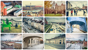 Collage of Warsaw attractions Stock Image