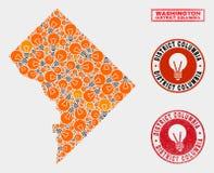 Collage Washington District Columbia Map d'ampoule d'illumination et joints rayés de timbre illustration de vecteur
