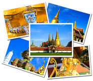 Collage of Wat Phra Kaew Grand Palace postcards Stock Photos