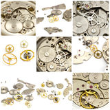 Collage. Watch and clock mechanism Stock Photos