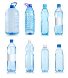 Collage of water bottles. Isolated on a white background Royalty Free Stock Photography