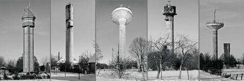 Collage of water towers Stock Photography