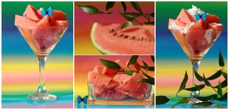 Collage with watermelon salad and butterfly Stock Image