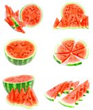 Collage of watermelon on white, isolated Stock Images