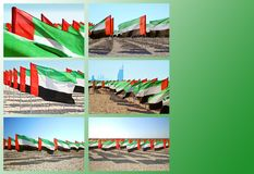 Square collage with waving flags of UAE stock photos