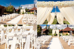 Collage of wedding decoration in white color Stock Photos