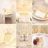 Collage of wedding decoration in white color. Wedding decoration and details in white color Stock Image